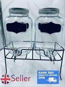 Dual Chalkboard Mason Jar Drink Dispenser Stand 2x Glass Twin Drink Dispenser🌹