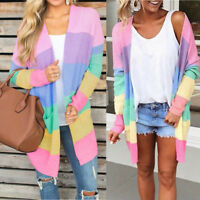 Womens Patchwork Long Sleeve Rainbow Stripe Cardigan Tops Sweater Coat Outwear