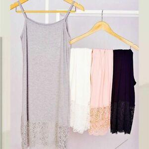 Lady Lace Modal Dress Strappy Nightdress Slips Petticoats Slim Soft Strappy Sexy