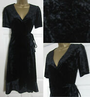 NEW Oasis Womens Crushed Velvet Wrap Party Dress Xmas Evening Midi Black 6-16