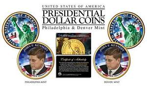 Colorized 2-sided JOHN F KENNEDY 2015 Presidential $1 Dollar 2-Coin Set P&D MINT