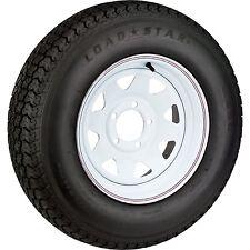 """14"""" White Spoke Wheel & ST205/75D14 Bias Trailer Tire 5x4.5 New Free Shipping"""