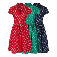 RETRO VINTAGE 40's 50's ROCKABILLY POLKA DOT FLARED SHIRT COTTON DRESS NEW 8-28