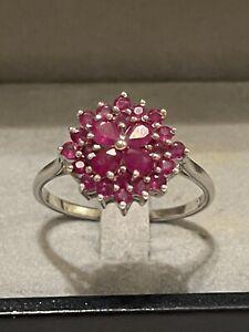 Silber Ring Rubin Kronenring Krönchenring Edelstein 925 Silber rar Vintage