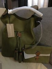 NWT Burberry 3971116 Olive/Green Nubuck Large Ashly Drawstring Hobo Retail $1595