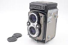 Grey Yashica-D TLR camera with Yashicor 80mm lenses, ER case, lens cap.