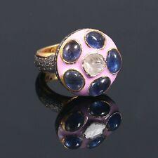 925 Sterling Silver Pave Rose Cut Diamond Polki Tanzanite Gemstone Ring ER 0404