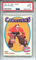 1971 OPC Hockey #45 Ken Dryden Rookie Card RC Graded PSA MINT 9 O-Pee-Chee