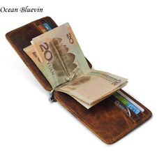 Quality Thin Vintage Men's Money Clips Wallet 12 Card Slots Genuine Leather Clam