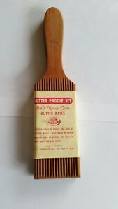 Vintage Grooved Wood Butter Paddles Set Gnocchi Boards Italy (2)