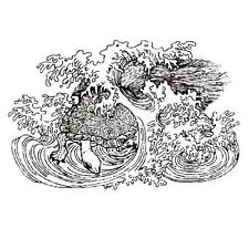 SEA TURTLE in Waves unmounted rubber stamp, Japanese #12
