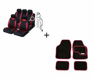 9 PCE Sports Carnaby Red / Black CAR Seat Covers + Matching Mat Set Honda Civic