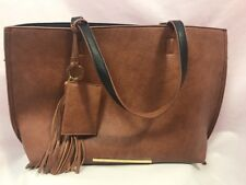 Steve Madden Brown Faux Leather Large Tote Purse, Snap Closure
