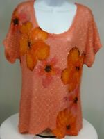 7 Wonders Women's XL Sweater Pullover Scoop Neck Short Sleeve Floral - K26