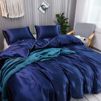 Luxury Satin Silky Duvet Cover Set Quilt Cover Pillowcase 2/3PCS Twin Queen King