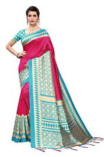 Art Silk Peacock Print Pink & Sea Green Indian Ethnic Bollywood Party Wear Saree