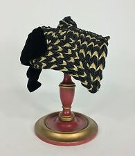 Vintage 1940's FABULOUS black and gold braided cord Asian-insp. hat w/velvet bow