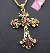 181 # Betsey Johnson flour transport, exquisite new bronze cross necklace