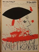 ORIGINAL PLAKAT POP ART FASCHING MÜNCHEN 1970 NACHT DER KÜNSTLER HOLDERIED