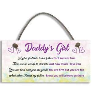 Daddy's Girl Hanging PVC FATHERS DAY BIRTHDAY Gift For Him Daughter Dad #1098
