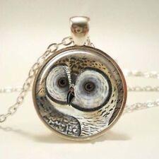 Item DesFashion Vintage OWL Cabochon Tibetan silver Glass Chain Pendant Necklace