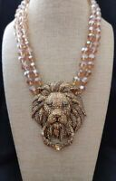 "Heidi Daus ""Lion Hearted"" Beaded 2-Strand Crystal Drop Necklace NWT - STUNNING!!"