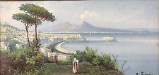 2x Vedute Neapolitan Gouache Gemälde Golf von Neapel M.Gianni Napoli Italia~1900