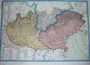 1848 ORIGINAL MAP ITALY ITALIA LOMBARDY TRENTINO VENETO FRIULI VENICE MILAN