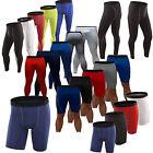 Mens Compression Shorts Long Pants Under Baselayer Skin Workout Legging Sports
