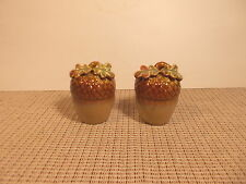 Nice Ceramic Sculpted Acorns Salt & Pepper Shaker Set 3""