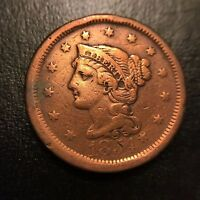 1854 Large Cent Extra Fine XF 1c Copper Type