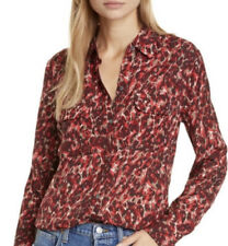 Equipment Women's Slim Signature Shirt Blouse Merlot Multi Red Medium M NWT
