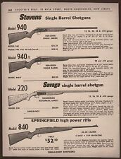 1963 STEVENS 940, SAVAGE 220 Shotgun, Springfield 840 Rifle PRINT AD w/prices