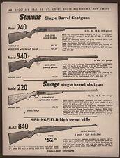 1963 STEVENS 940, SAVAGE 220 Shotgun, Springfield 840 Rifle PRINT AD w/prices