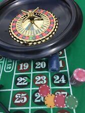 More details for boxed roulette set - large wheel, felt, rake,balls, marker + 50 starter chips