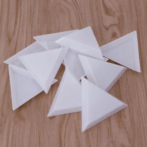 10Pcs Plastic Triangle Rhinestones Beads Crystal Nail Art Sorting Trays White