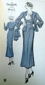 RARE VTG 1930s DRESS & JACKET NEW YORK Sewing Pattern BUST 38 FF