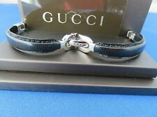 Original GUCCI BLACK/STAINLESS BANGLE  LEATHER Watch Strap  5 MM New OEM