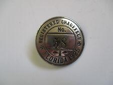 1925 Florida RARE Adams Stamp Taxi Driver CDL Chauffeur Employee ID Badge Pin