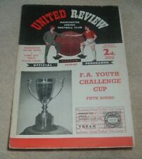 MANCHESTER UTD Youth  v STOKE CITY Youth FA Youth Cup 5th Rd 14th March 1960