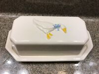 Nelson McCoy Country Accents Butter Dish Embossed Goose Cold Paint Blue Bow RARE