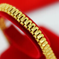 Chunky Link Chain Bracelet 18K Gold Plated Cuff Wristband Jewelry For Men Bangle