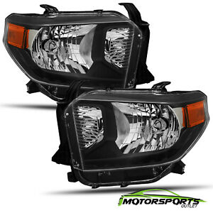 For 2014-2021 Toyota Tundra Polished Black Replacement Crystal Headlights Pair
