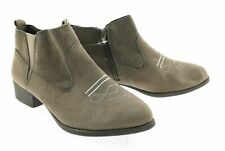 Rampage Brown Suede Western Style Booties with Side Zipper Size 9.5