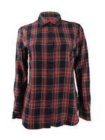 Lauren Ralph Lauren Women's Plaid Long Sleeve Collared Button-Up Top