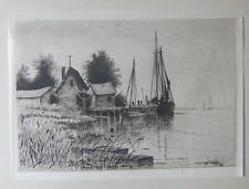 George E. Essig - Maurice River, N.J. - Rare antique etching on Rice Paper