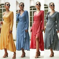Women's Holiday Floral Ruffle Strappy Maxi Dresses New Long Sleeve V-neck Dress