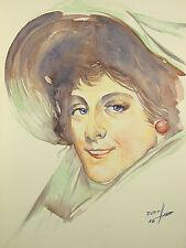 Erich Bernhardt: Portrait einer Film-Diva, Original-Aquarell