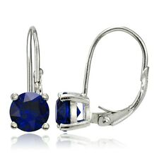 925 Sterling Silver 2ct Created Blue Sapphire Leverback Earrings