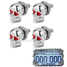 Chrome Skull License Plate Bolts for Suzuki Intruder VS VL 700 750 800 1400 1500